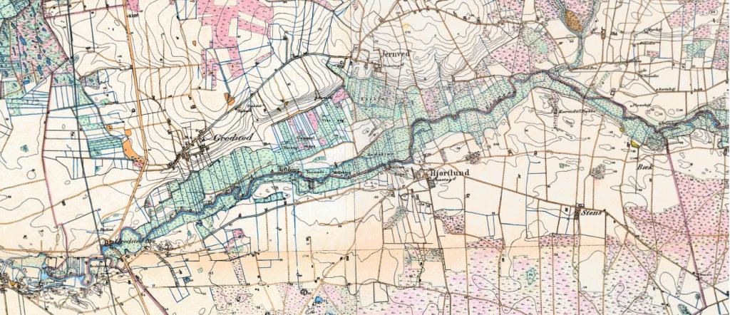 Landbruget ved Kongeåen sidst i 1800-tallet. Kilde: Kort- og Matrikelstyrelsen.
