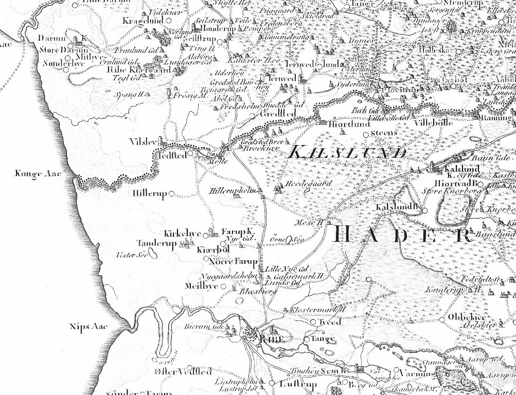 On the Academy of Sciences Map from 1804 you can see Drivvejen's route and where it crosses the river Kongeå.