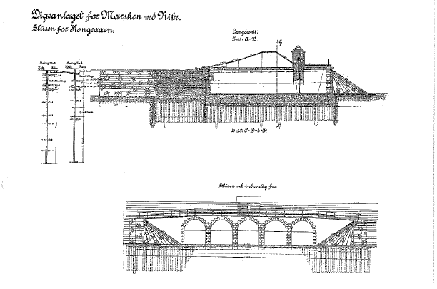 Cross-section of Kongeå lock's construction. Above; cross-section, lower; front view of the lock with its five outlets. Photo: Fagbladet Ingeniøren, 1912.