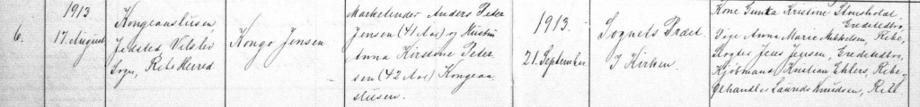 Vilslev parish log showing the birth of Kongo Jensen. He is probably named after his birthplace, the Kongeå lock.   Photo: Danish State Archive: