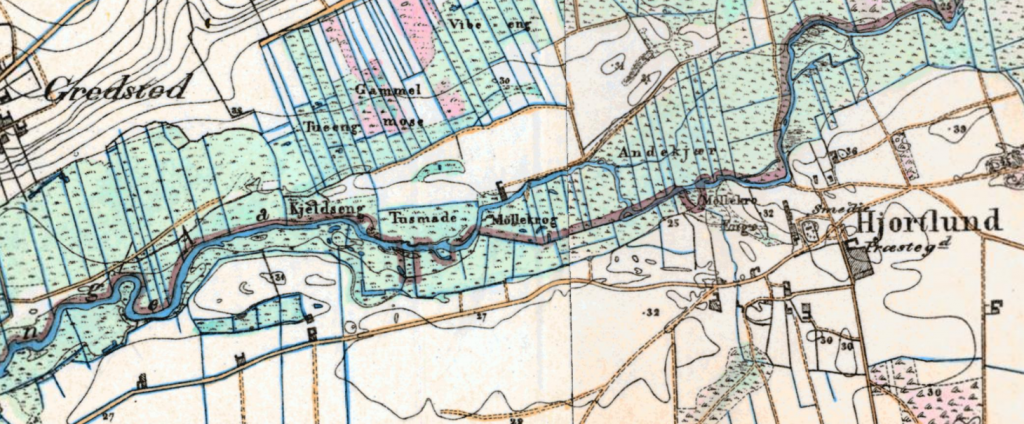 The high topographical maps from 1899 show some of the place names south of Jedsted.