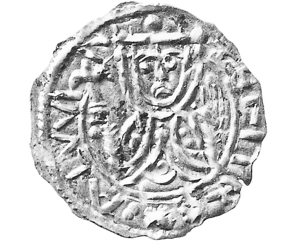 Erik II Emune på en mønt fra hans regeringstid 1134-1137. Kilde: Den Store Danske.