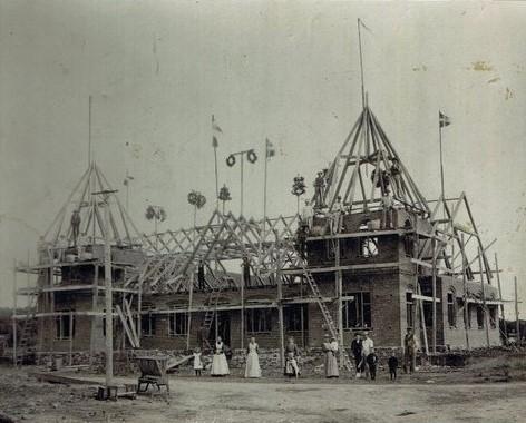 Rejsegilde ved Gredstedbro Hotel 1905. Foto: Jernved Sognearkiv.