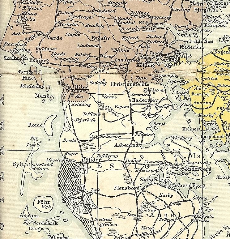 1864-grænsen, som den så ud i 1908. Kort: Det Kongelige Bibliotek.