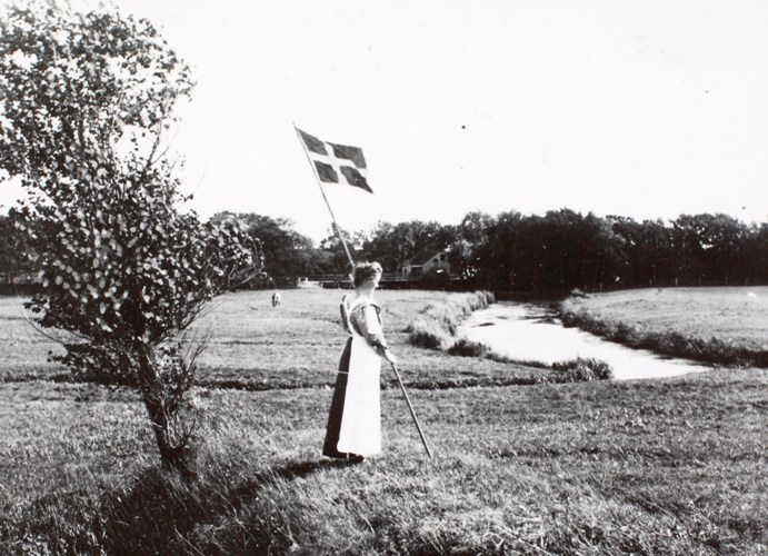 Die Kongeå bei Foldingbro ungefähr 1920. Foto: Det Kongelige Bibliotek.