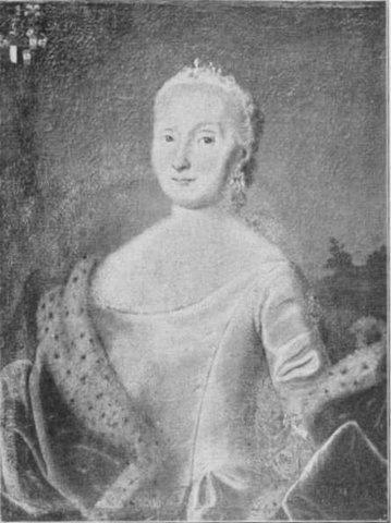 Margrethe von Rosenørn (1715-1786) to Riber Kjærgaard.   Photo: Contemporary painting