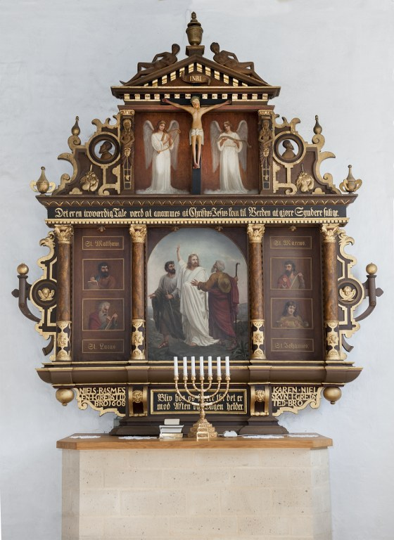 Note the lower part on the altarpiece with the names of donors. Photo: Esbjerg Town Historical Archives, Torben Meyer.