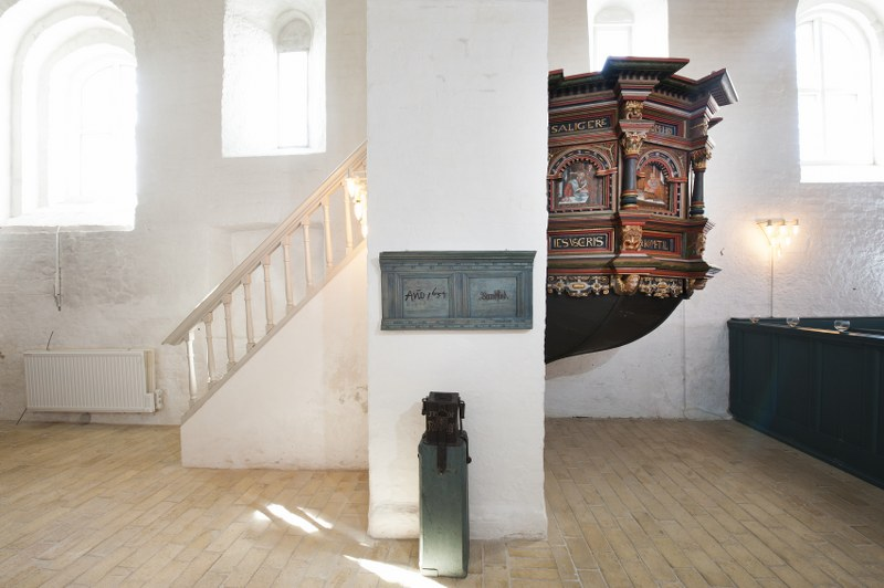 The flood mark indicates the water level inside the church in 1634. Photo: Esbjerg Town Historical Archives, Torben Meyer.